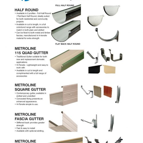 List of Metrolls gutters and accessories