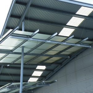 A photo of a roof made from Metrolls Translucent Sheeting